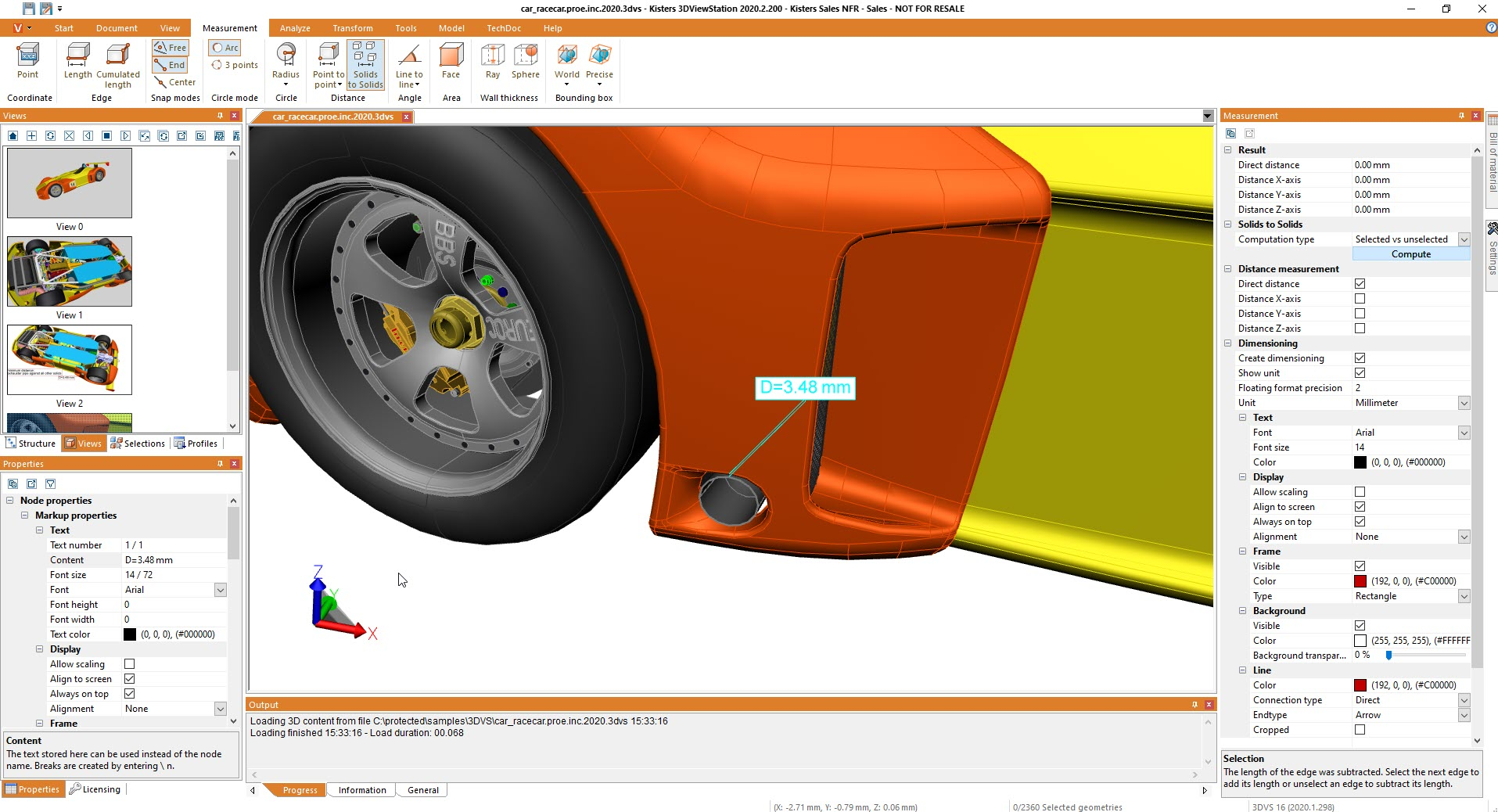 result detail: minimum distance between many solids - using 3D CAD viewer 3DViewStation