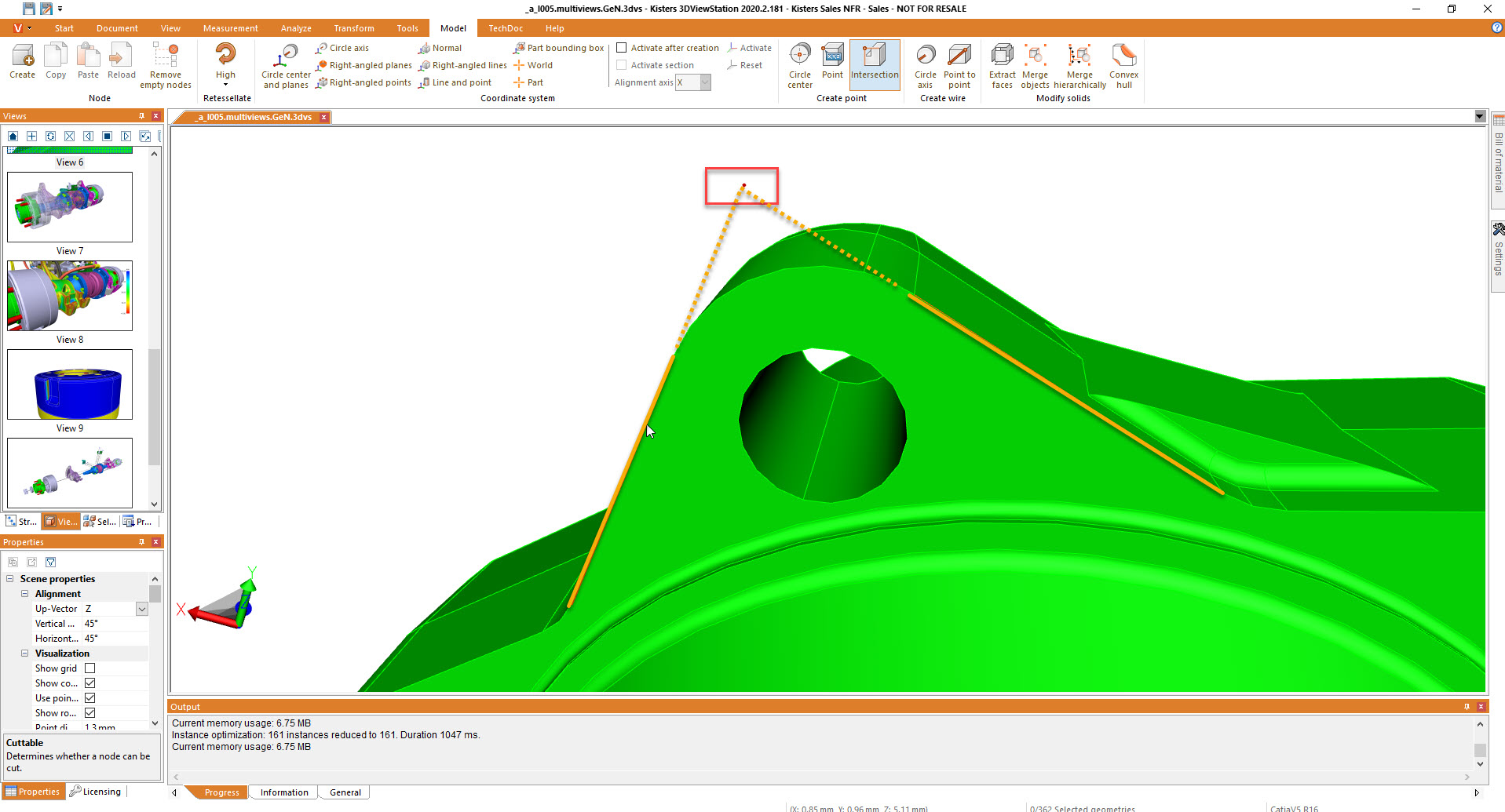 create intersection point of 2 lines - authoring using 3D CAD viewer 3DViewStation